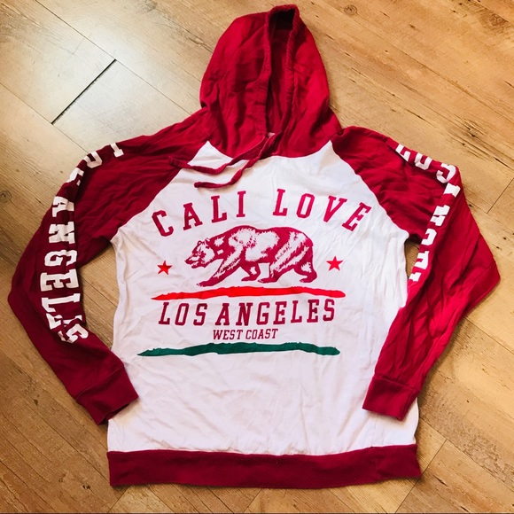 On Fire Other - Cali Love Long sleeve hooded T-shirt Size Medium